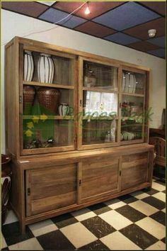 Cute Classic cupboards or vitrine cabinet or shop cabinet made from high quality of teak wood by