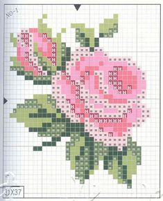 pink rose Cross stitch rose