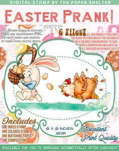 Easter Prank - Digital Stamp Digital Media, Digital Image, A4 Sheet Size, Paper Background, Digital Stamps, Pranks, Card Stock, Teddy Bear, Easter