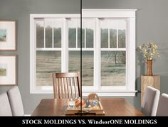 I really wish all our window trim could look like this! Illustration of full scale moldings vs. & how it can transform a room! (Shown here with WindsorONE Classical Craftsman Moldings). Craftsman Windows, Craftsman Interior, Craftsman Style Homes, Interior Trim, Home Interior, Craftsman Lighting, Craftsman Farmhouse, Craftsman Kitchen, Craftsman Decor