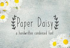 Ad: Paper Daisy Font by maja.mint on Paper Daisy is a handwritten condensed font with love for detail. It's perfect to add a neat and individual look to your things. The font Condensed Font, Cute Fonts, Pretty Fonts, Beautiful Fonts, Font Squirrel, Paper Daisy, Design Typography, Branding, Handwriting Fonts