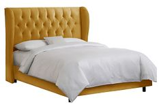 Reed Tufted Wingback Bed, Marigold on OneKingsLane.com