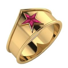 Wonder Woman Ring with Custom-Cut Created Rubies