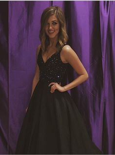 Buy New Arrival Floor Length V-Neck Black Prom Dress with Rhinestone Long Prom Dresses under US$ 136.99 only in SimpleDress.