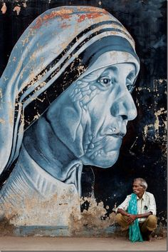 "Street Art of India - ""Mother Teresa"" by Shanavas. An incredible saint, and a lovely mural of her. Graffiti Art, Murals Street Art, Art Mural, Urban Street Art, 3d Street Art, Street Artists, Urban Art, Amazing Street Art, Amazing Art"