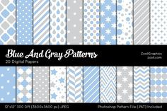 Blue And Gray Digital Papers Graphics Blue And Gray Patterns include 20 seamless (tileable) patterns (dots, chevron, stripes, drops, stars by ZoollGraphics
