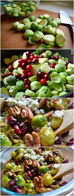 Thanksgiving Pan-Seared Brussels Sprouts with Cranberries & Pecans. On MRC Menus leave off the gorgonzola cheese, or add for your guests and reserve a portion without for yourself.