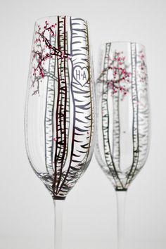 Hand Painted Champagne Flutes Glasses With Birch Trees & Spring Blossoms - Pair Of 2 - Personalized - The Perfect Wedding Gift by Mary Elizabeth Arts on Gourmly
