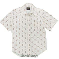 9022475e JC Penney Towncraft Dress Shirt Vintage 70's Pique Mesh Knit Textured Large  L 16 #Towncraft
