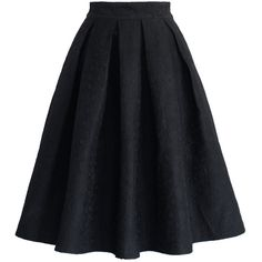 Chicwish Jacquard Rose Pleated Midi Skirt in Black (£34) ❤ liked on Polyvore featuring skirts, bottoms, black, faldas, knee length pleated skirt, mid calf skirt, jacquard skirt, calf length skirts and rose skirt