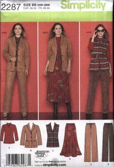 Simplicity Sewing Pattern 2287 Womens Plus Size 20W-28W Wardrobe Jacket Vest Pants Skirt Knit Top Simplicity+Sewing+Pattern+2287+Womens+Plus+Size+20W-28W++Wardrobe+Jacket+Vest+Pants+Skirt+Knit+Top