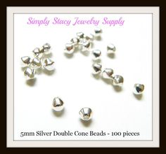 5mm Silver Plated Smooth Bicone Beads  by StacyJewelrySupply, $3.99