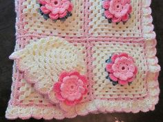 Coming Home Gift. Crochet Baby Girl Rose Blanket by MagicalStrings, $100.00