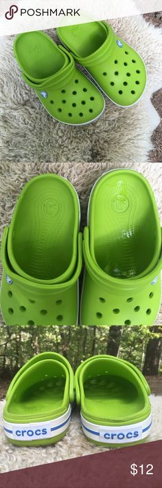 Kids CROCS size 2 Great condition! Lime green with blue and white accents. Super clean and adorable. Youth size 2 CROCS Shoes Sandals & Flip Flops
