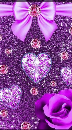 Love Wallpaper Backgrounds, Heart Iphone Wallpaper, Bling Wallpaper, Purple Backgrounds, Cellphone Wallpaper, Heart Background, Glitter Background, Love Heart Images, Son Luna