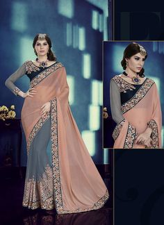 Buy latest saree collection of designer wedding sarees for womens, cheap indian sarees shopping. Buy this paramount faux chiffon and net grey classic saree.