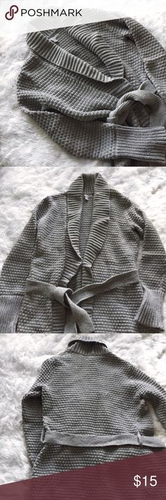 Gray Wrap Tie Knit Cardigan Gray wrap tie knitted long cardigan. Old Navy. Size medium. Warm and perfect to throw on in a cold classroom or office. Old Navy Sweaters Cardigans