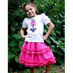 KidCuteTure Raspberry Double Layer Tulle Ruffle Skirt Girls 2-16