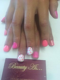 Jessica GELeration- little skittle pucker up and chalk white with poka dot nail art @JessicaNails #nails #jessica