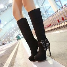 New fashion Sexy lady boots Long Boots With Heels, High Heel Boots, Heeled Boots, Bootie Boots, High Heels, Bow Boots, Sexy Boots, Stiletto Heels, Shoes Heels