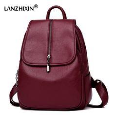 f15982de1478 52% СКИДКА|Lanzhixin Женские винтажные рюкзаки высокого качества кожаные  рюкзаки для девочек подростков Sac основной женский школьный рюкзак на  плечо 1082 ...