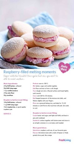 desserts - PRECIOUS MOMENTS Create a beautiful memory share these raspberryfilled biscuits with your mom on Mother's Day dailydish mothersday picknpay freshliving Biscuit Cookies, Sandwich Cookies, Biscuit Recipe, Baking Cookies, Baking Recipes, Cookie Recipes, Dessert Recipes, Mini Pie Recipes, Raspberry Filling