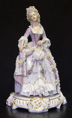 "Porcelain 'Dresden Lace' Lady Figurine. [""My violet lady, donned in lace, full of poise and fragrant grace."" Marianne Coyne]"