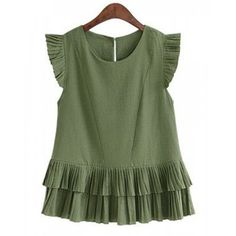 Stylish Jewel Collar Short Sleeve Solid Color Double-Decker Pleated T-Shirt For Women.