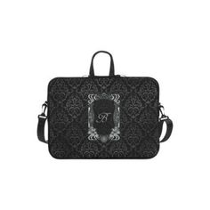 Personalized Laptop Shoulder Bag Black Grey Damasks Frame Monogram Initial Macbook Air 11 Inch