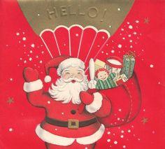 Vintage Greeting Card Christmas Santa Claus Parachute Bag of Toys 1950s r746
