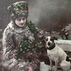 Antique French Christmas photo postcard, lady in furs with terrier dog