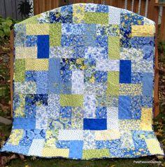 Summer Breeze Patchwork Lap Quilt Blue by PatsPassionQuilteds