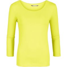 Sandwich Cotton long sleeve t-shirt ($18) ❤ liked on Polyvore featuring tops, t-shirts, women, yellow, yellow top, scoop neck tee, basic tee shirts, long sleeve cotton tees and basic tees