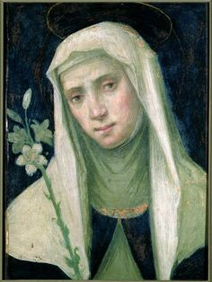 Fra Bartolommeo did a beautiful painting of a pensive St. Catherine of Sienna with a lily