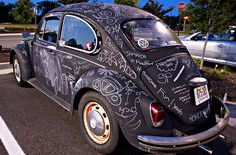 Chalkboard paint on vintage VW.  I actually LOVE this idea!