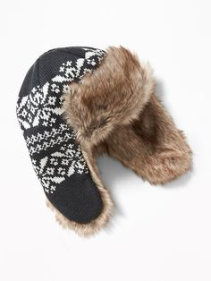 Faux-Fur-Lined Trapper Hat for Toddler Boys