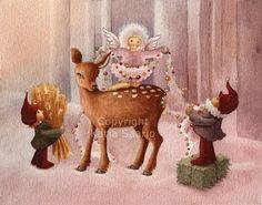Katja Saario Christmas Tale, Christmas Ornaments, Christmas Illustration, Gnomes, Illustrators, Moose Art, Santa, Holiday Decor, Artist
