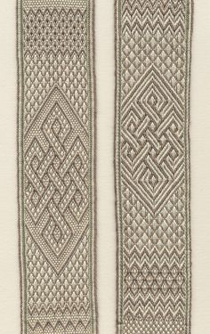 knot pattern in various missed-hole structures. Band woven by Marijke van Epen