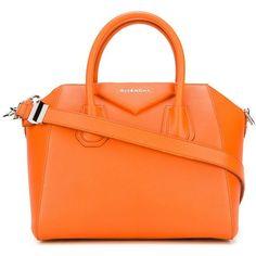 Givenchy small 'Antigona' tote (2,503 CAD) ❤ liked on Polyvore featuring bags, handbags, tote bags, orange handbags, givenchy, orange purse, givenchy purse and givenchy handbags