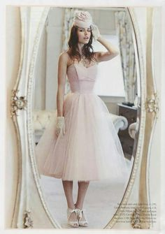 Candy Anthony 50s style blush wedding dress with Harriet Wilde ribbon tie shoes.