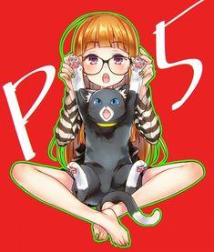 Akatsuki (Pixiv68900), Shin Megami Tensei: PERSONA 5, Sakura Futaba (Persona 5), Morgana (Persona 5), Striped Shirt, Red Background