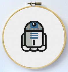 R2D2 Cross Stitch Pattern available for instant download in PDF.
