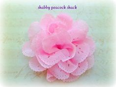 "3"" Chiffon Eyelet Pink Lace Flowers Fabric Flowers DIY Hair Bow by ShabbyPeacockShack, $1.15"