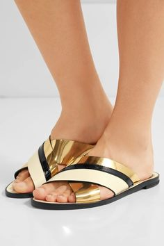 Slight heel Gold and black patent-leather, ivory leather Slip on Imported Bouchra Jarrar, Shoe Department, Leather Slip Ons, Me Too Shoes, Women's Shoes, Black Patent Leather, Fashion 2017, Lanvin, Sandals