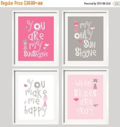ON SALE You Are My Sunshine  Pink and Grey Giraffes by YassisPlace