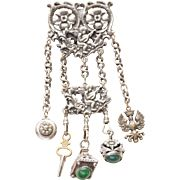 Victorian Silver Plated Chatelaine With Green Onyx and Green Glass