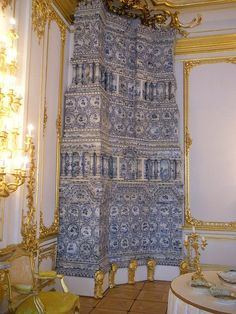 Catherine Palace delft tile room heater, St Petersburg