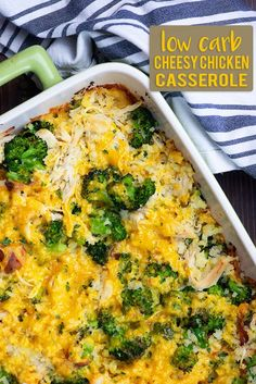 Low carb casserole with chicken cauliflower rice broccoli and bacon! So cheesy and total comfort food! Low carb casserole with chicken cauliflower rice broccoli and bacon! So cheesy and total comfort food! Low Carb Chicken Casserole, Casserole Recipes, Keto Casserole, Chicken Cauliflower Casserole, Casseroles With Chicken, Casserole Ideas, Pollo Keto, Low Fat Low Carb, Broccoli Bake