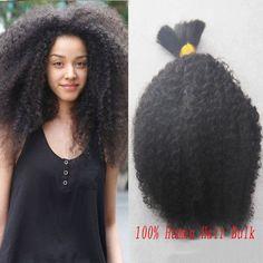 Brazilian Vrigin Hair Afro Kinky Curly Bulk Hair For Braiding Human Hair Bulk