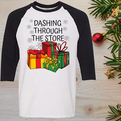 Dashing Through The Store Funny Christmas Raglan T-Shirt Sleeve Adult Unisex Baseball Style Shirt Christmas Humor, Christmas Snowman, Funny Christmas Shirts, Funny Snowman, Unisex, Loose Fit, Order Prints, Custom Clothes, Sleeves